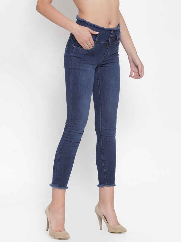 Women Dark Blue Skinny Fitted Jeans With Raw Hem