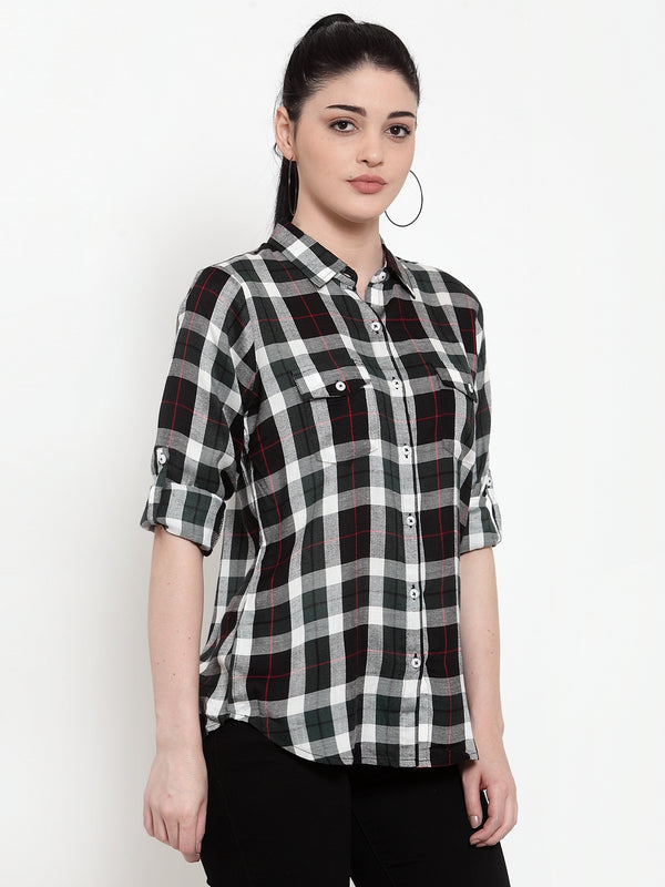 Women Green Modal Shirt Collar  Shirt