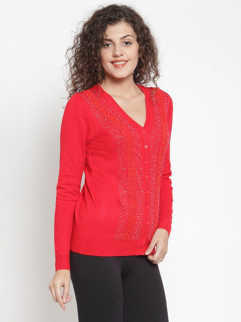 Women Red Embellished Cardigan