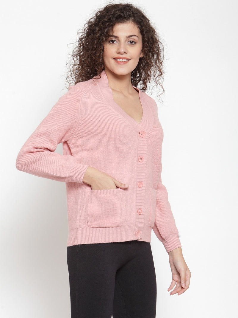 Women Solid Pink Cardigans With Pockets