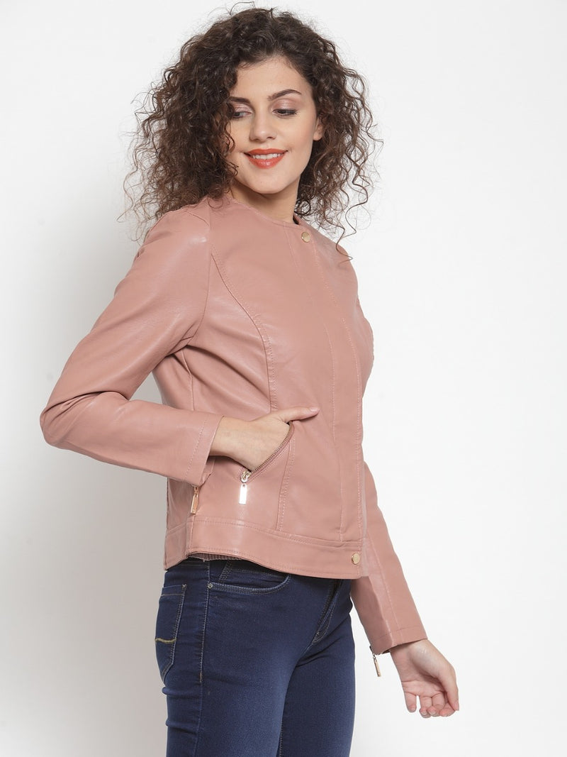 Women Pink Solid Jackets