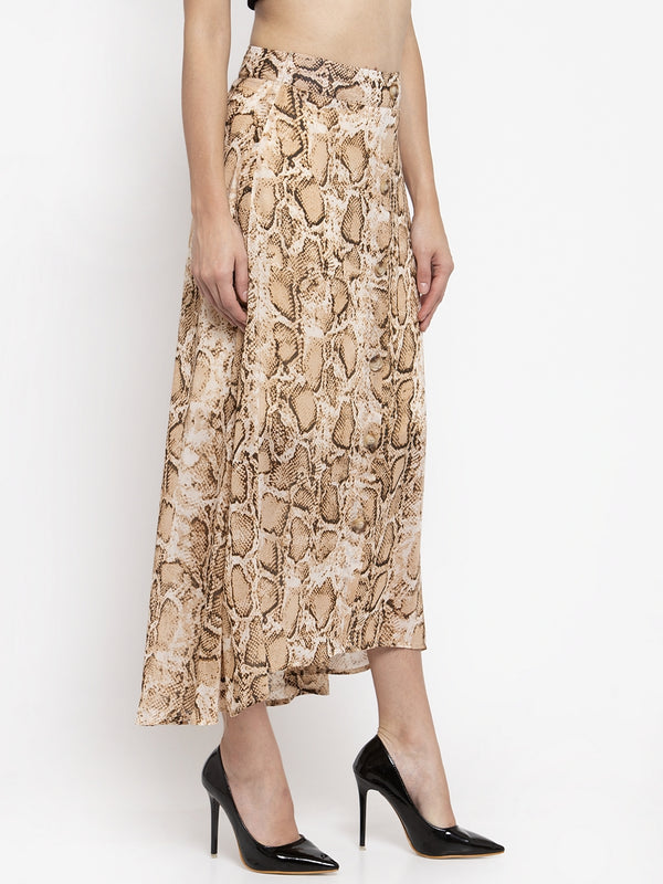 Women Flared Animal Printed Skirt