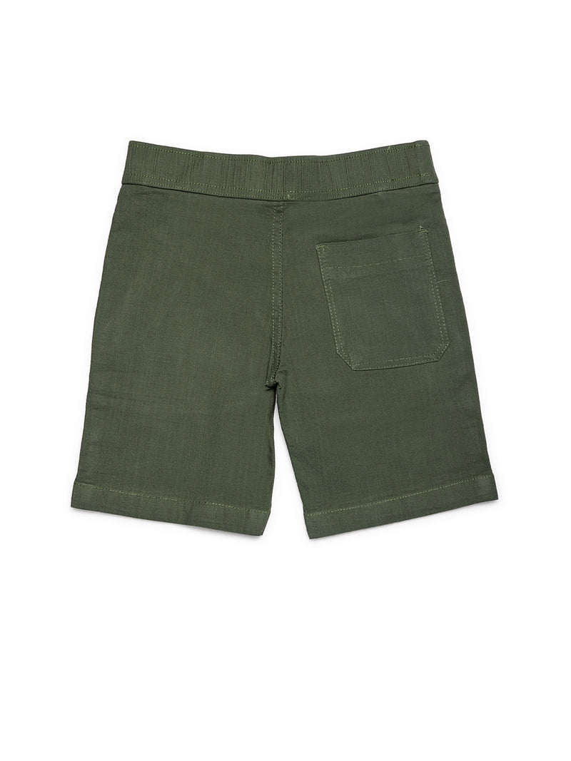 Boys Olive Cotton Linen Shorts