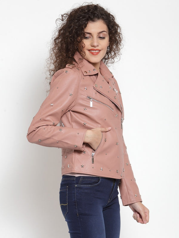 Women Solid Pink Collar Neck Jacket