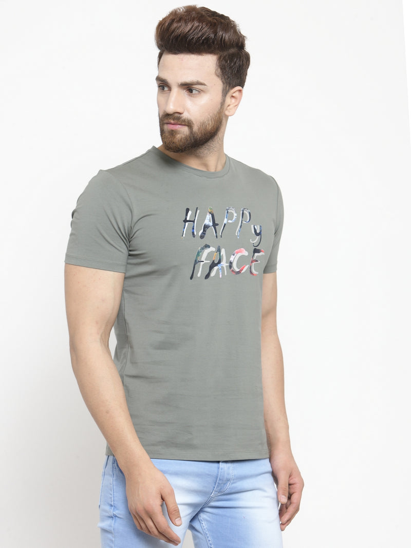 Men Happy Face Printed Olive Green Hosiery T-Shirt
