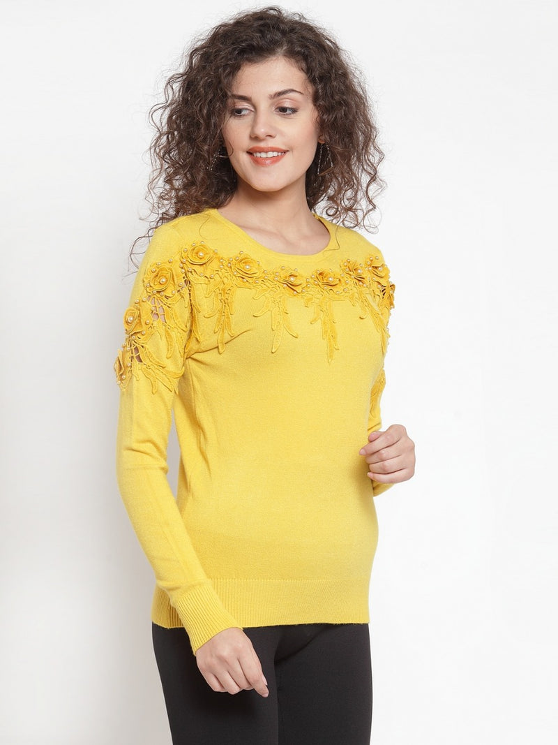 Women Yellow Solid Pullover Sweater