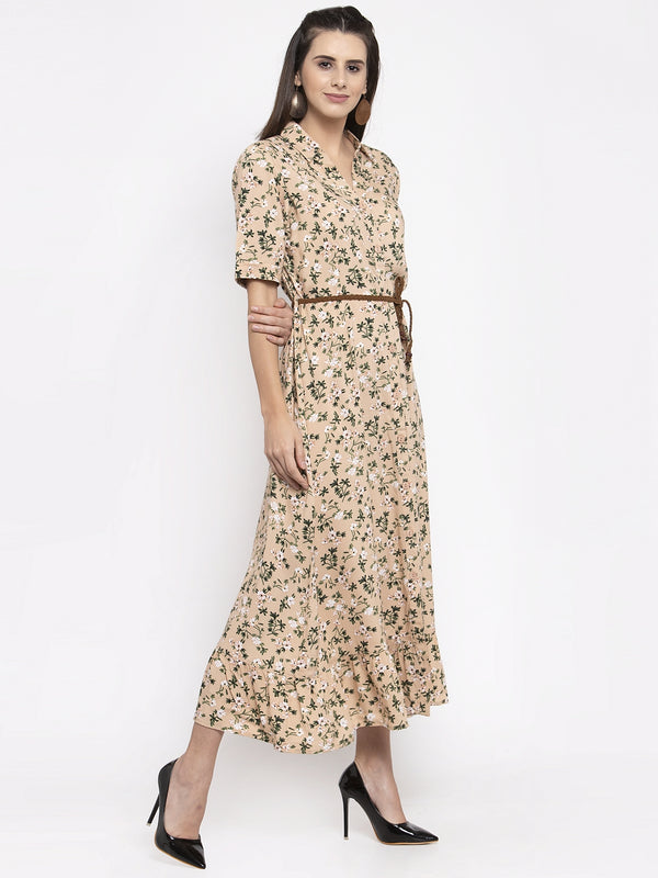 Women Printed Beige Shirt Collar Dress