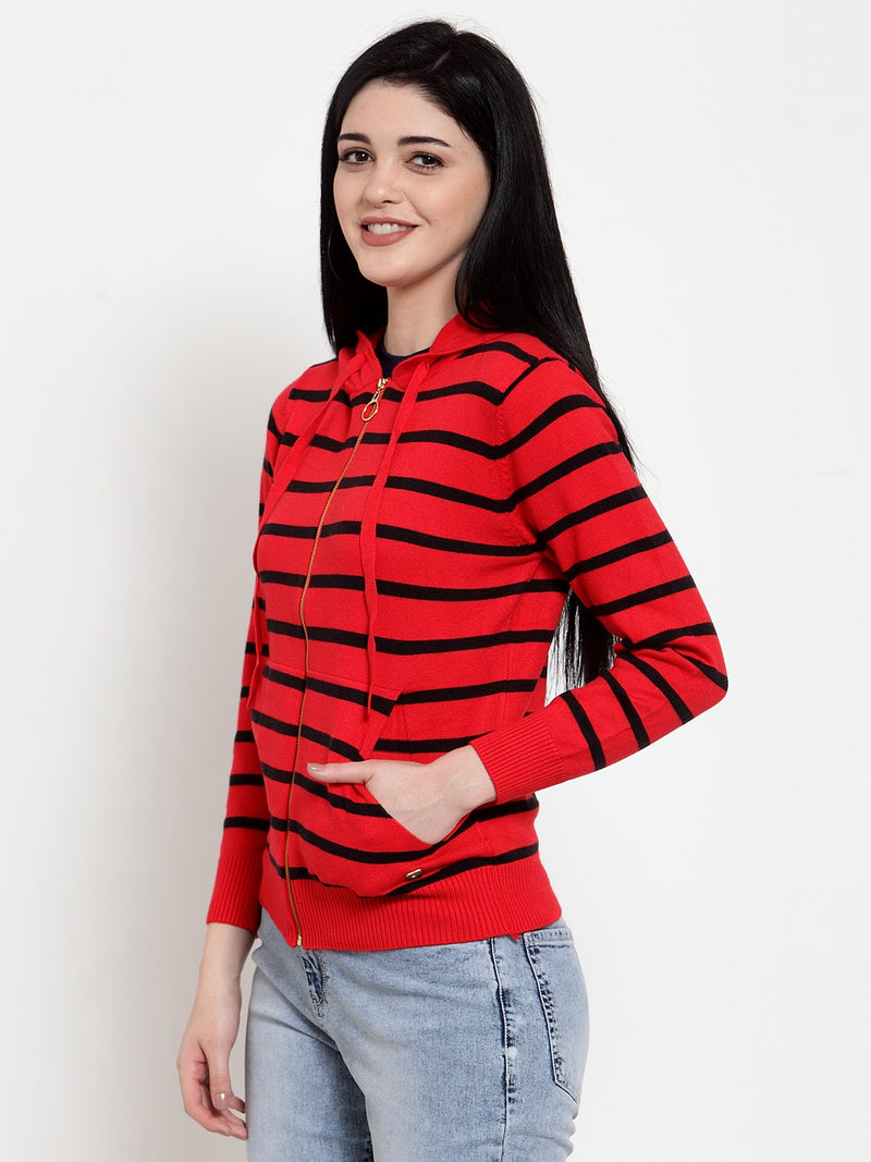Women Red KNIT Striped Pullover