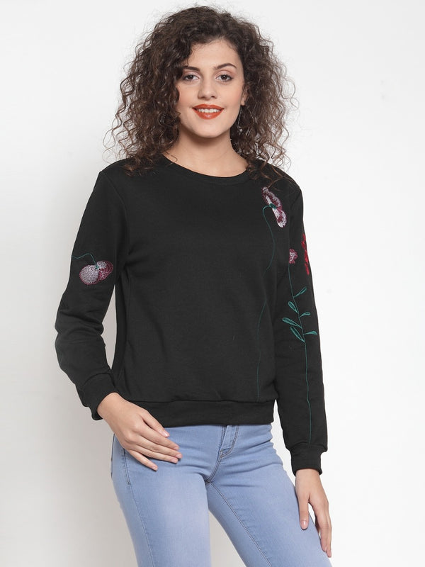 Women Solid Black Round Neck Sweatshirt