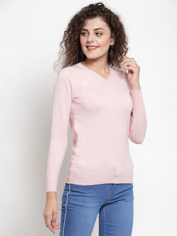 Women Pink V-Neck Full Sleeve Skeevi Pullover