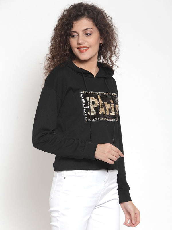 Women Black Crop Sweat Shirt