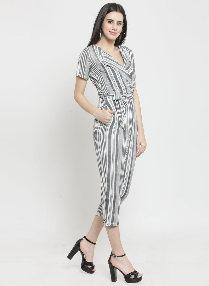 Women Black Striped Jumpsuit With Shawl Collar