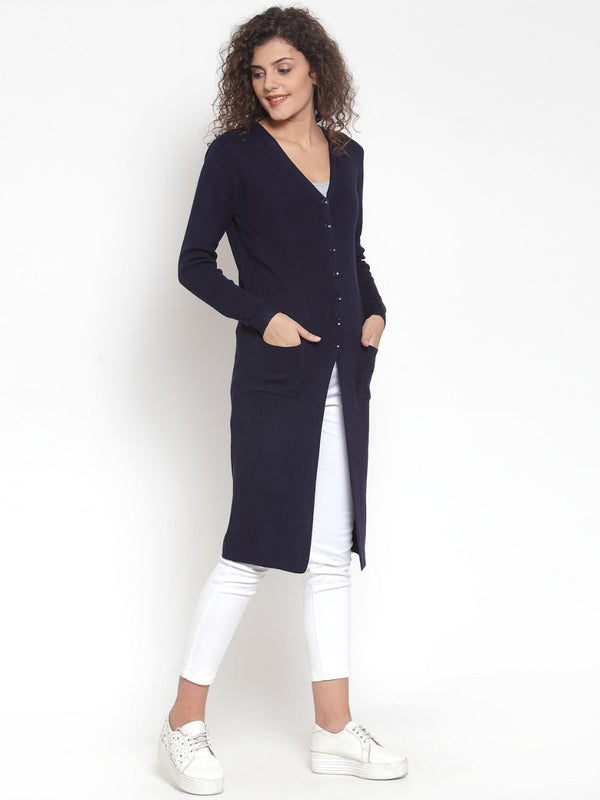 Women Solid Navy Blue V-Neck Coat