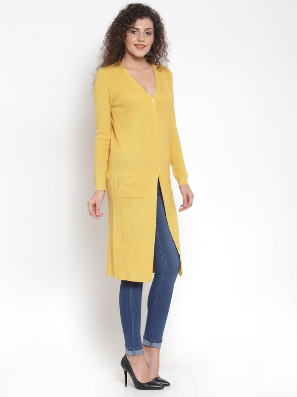 Women Solid Mustard V-Neck Coat
