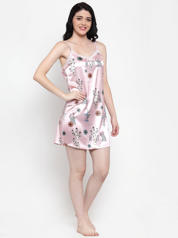 Women Pink Satin Printed Mini Nighty