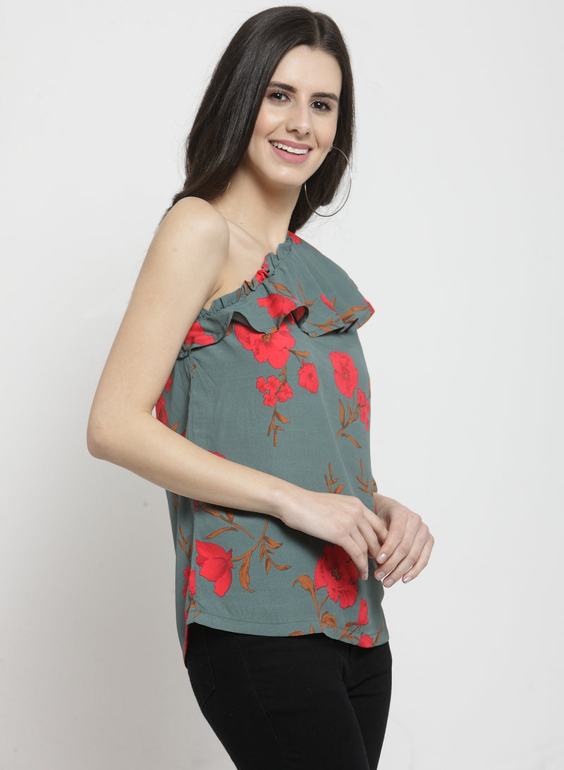 Women Green Floral Printed Top With One Shoulder