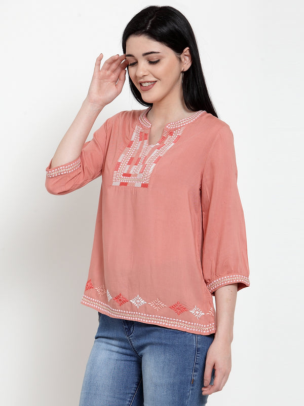 Women Pink Rayon Round neck  Blouse