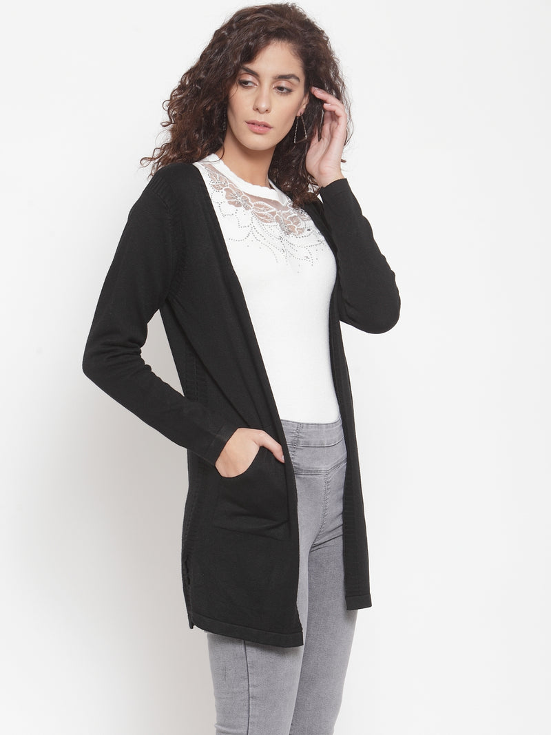 Women Solid Black V-Neck Shrug
