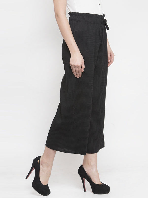 Women Drawstrings Black Relaxed Fit Lower