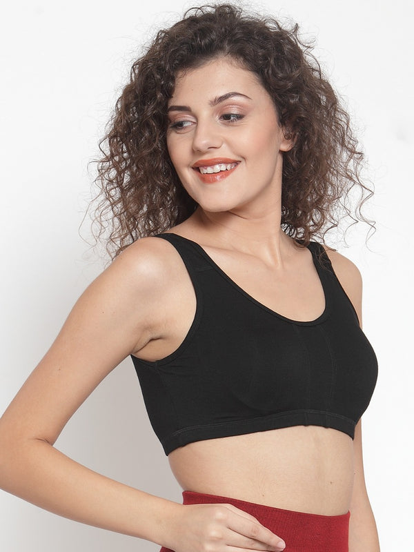Women Solid Black Sports Bra