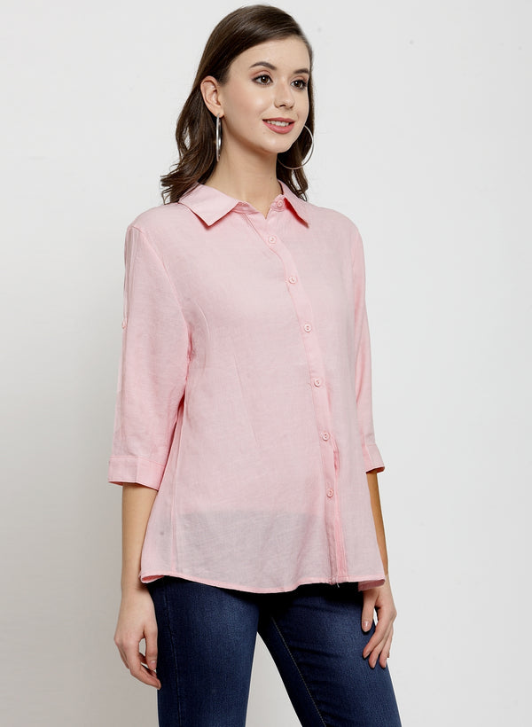 Women Pink Solid Cotton Shirt