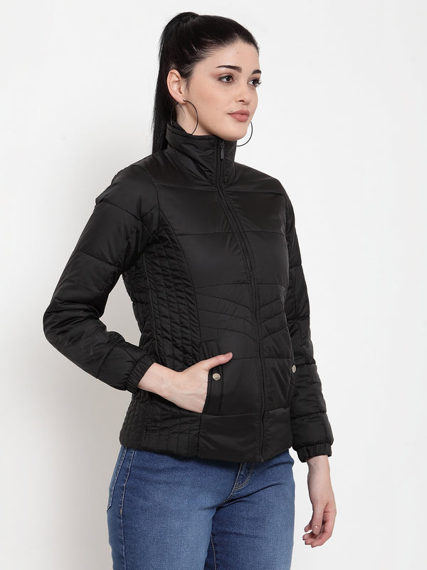 Women Black Sweet Solid Jacket
