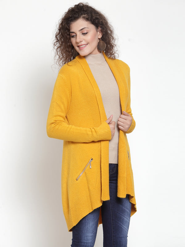 Women Solid Yellow Shrug