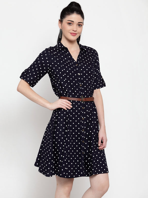 Women Navy Blue Cotton Polka Dots Knee Length Dress
