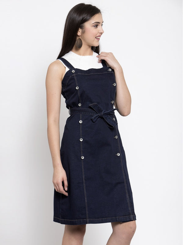 Women Dark Blue Pinafore Dress