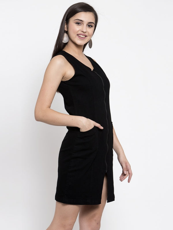 Women Black Front Zip Dress