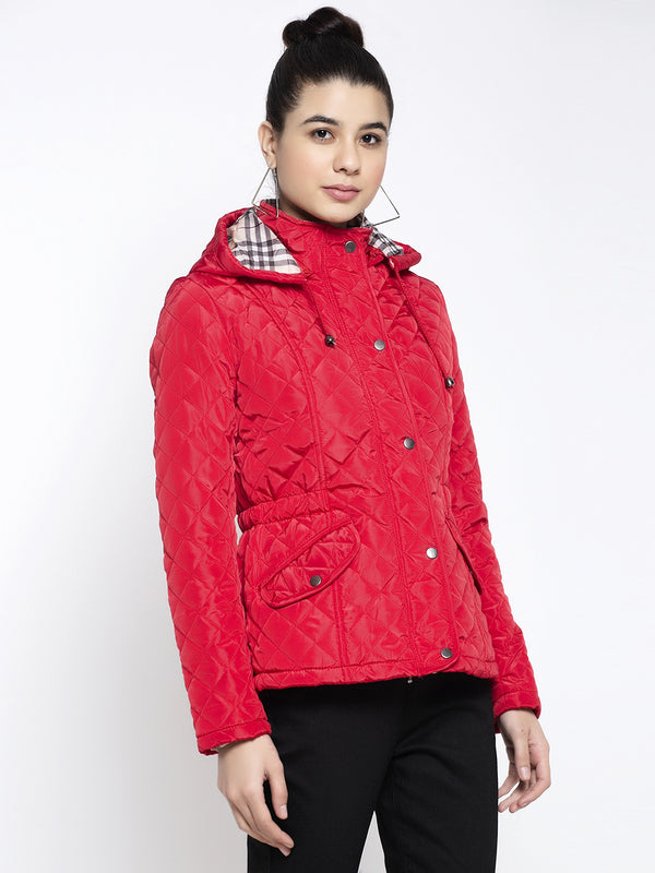 Women Red Hooded Solid Jacket