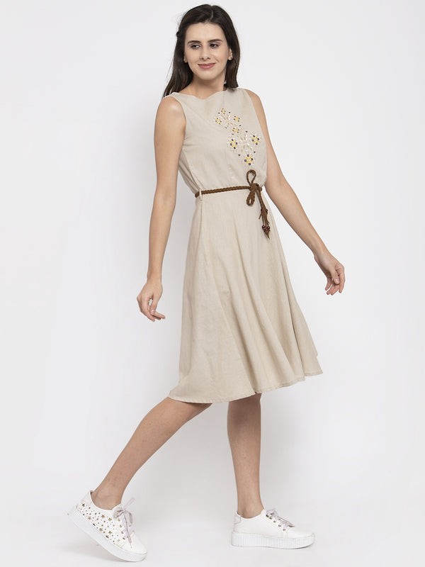 Women Embroidered Beige Round Neck Dress