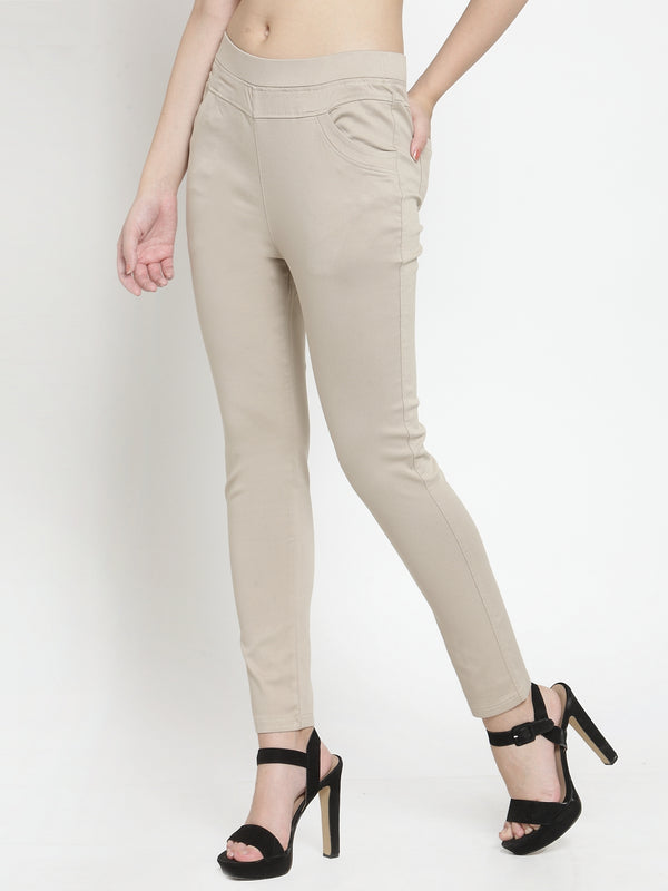 Women Camel Mid-Rise Stretchable Jegging
