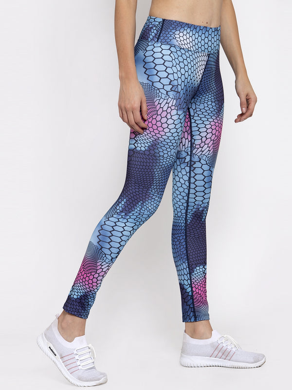 Women Blue Printed Polyester Dri Fit Tights