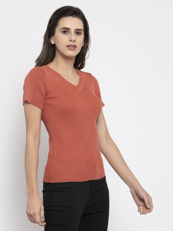 Women Solid  Rust Orange V-Neck Top
