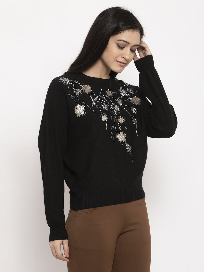 Women Black Embroidered Pullover
