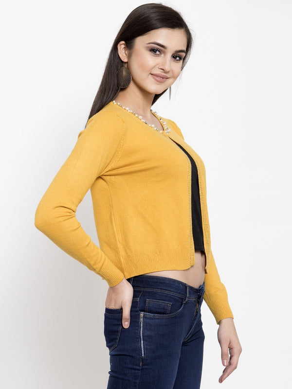 Women Solid Mustard Round Neck Shrug
