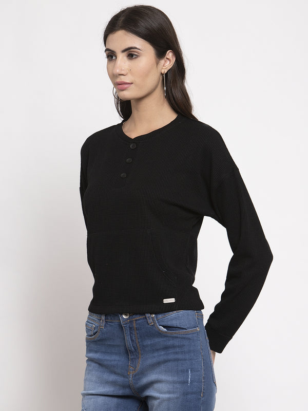 Women Black Solid V-Neck Top