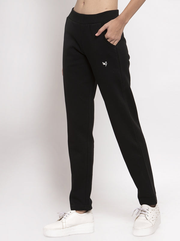 Women Black Solid Lower with Fleece