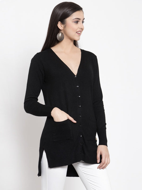 Women Solid Black V-Neck Coat