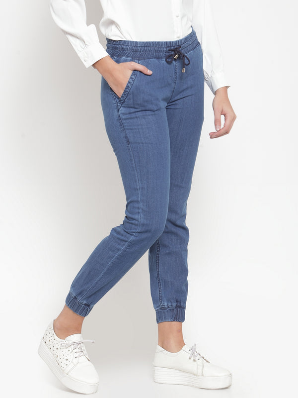 Women Blue Solid Denim Joggers
