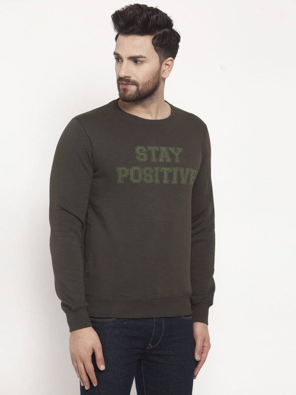 Mens Printed Olive Round Neck Sweat Shirt