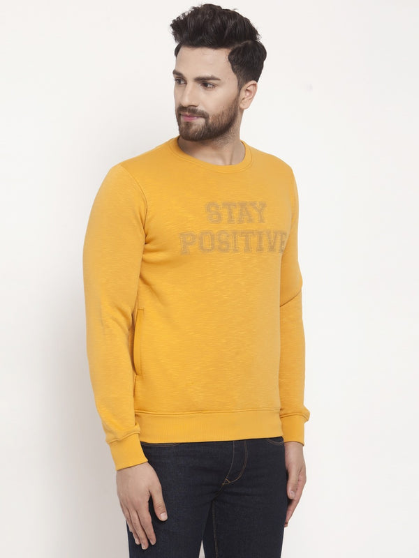 Mens Printed Mustard Round Neck Sweat Shirt