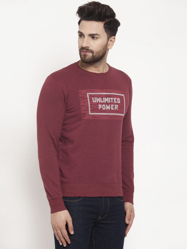 Mens Printed Maroon Round Neck Sweat Shirt