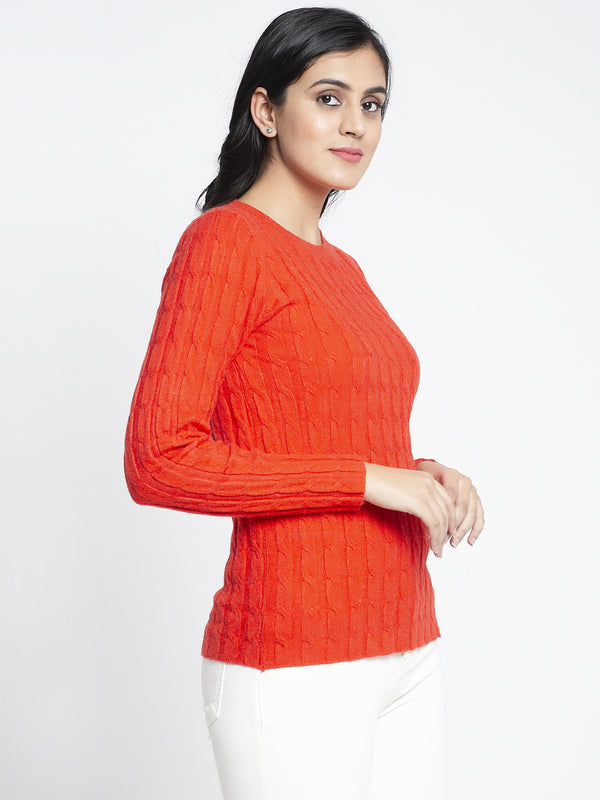 Women Orange Solid Sweaters