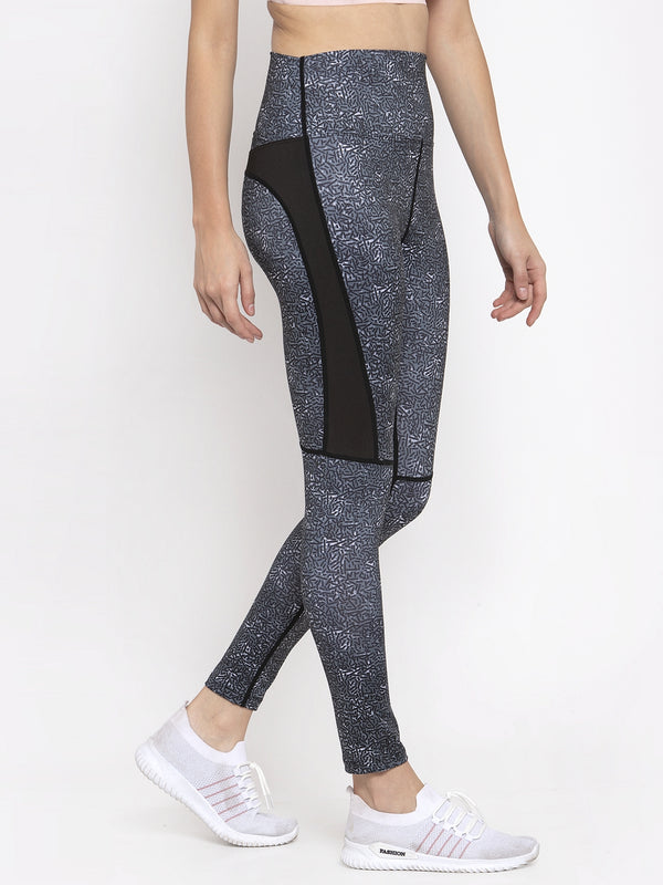 Women Grey Printed Polyester Dri Fit Tights