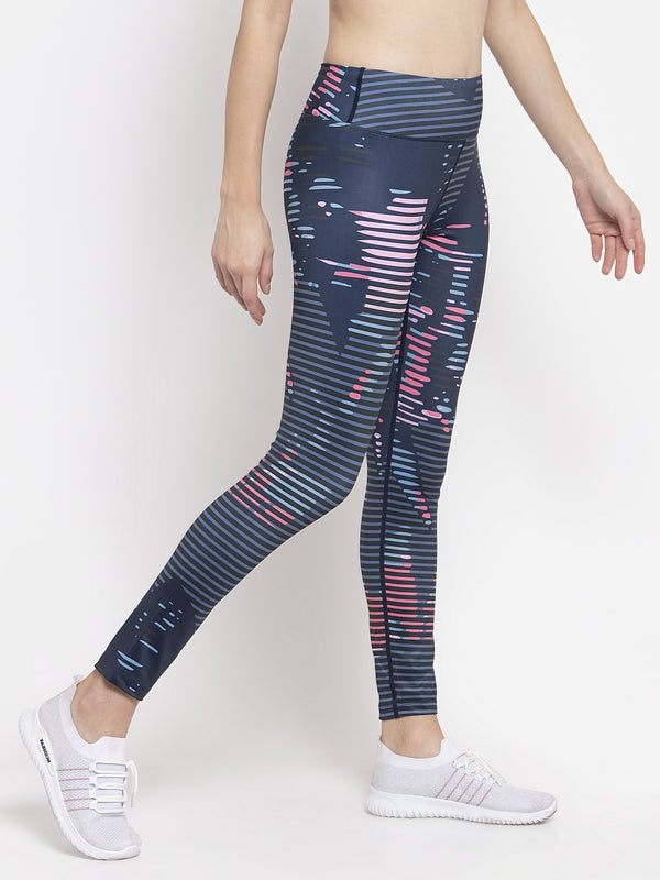 Women Navy Blue Printed Polyester Dri Fit Tights