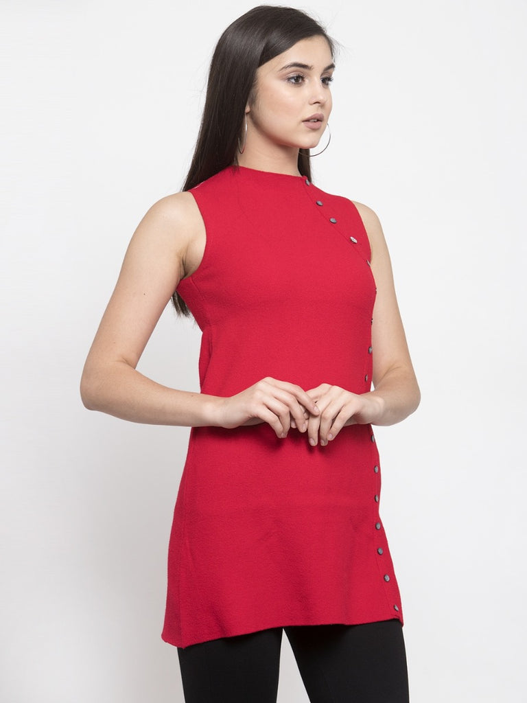 Women Solid Red Round Neck Tunic