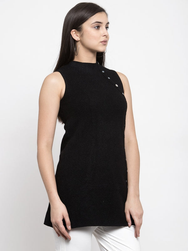 Women Solid Black Round Neck Tunic