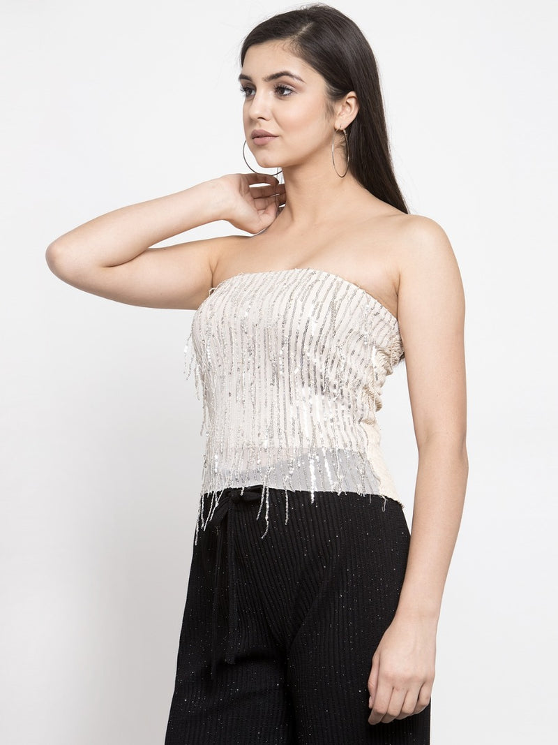 Women Embellished Gold Strapless Top
